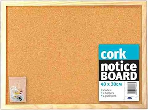 PACK OF 12 - Cork Notice Board (40 x 30cm)