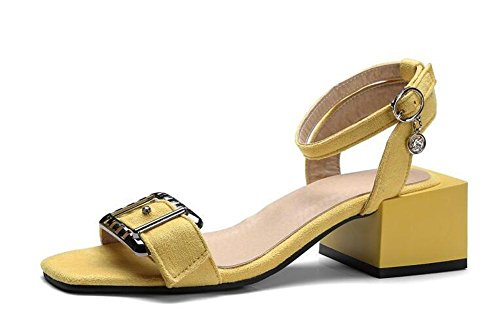 Beauqueen Veloursleder Pumps Open-Toe Chunky Mid Heel Sommer Wölbung Sandalen Casual Customized Europa Größe 32-48 Yellow