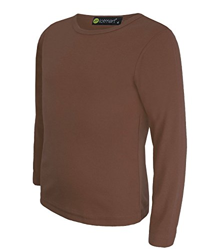 Kinder Uni Einfach Top Langärmelig Mädchen Jungen T-Shirt Oberteile Crew Uniform T-Shirt - Braun, Damen, 134-140 (Braun Shirt Baumwolle)