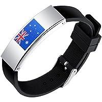 SHEDEU drapeaux Coupe du monde de football ventilateurs mains Bracelets Coupe du monde de football Drapeau national Bracelet en silicone pour homme en alliage Bracelet Australie