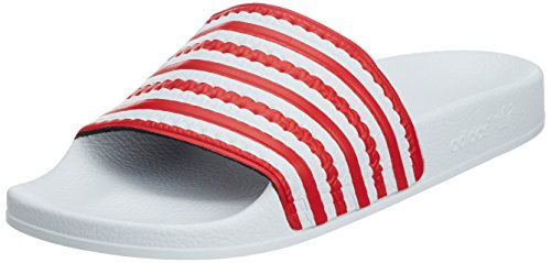 Adidas unisex – adulto adilette flags scarpe da ginnastica, uomo, bianco/blu / rosso, 9.0 uk - 43.1/3 eu
