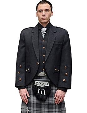 Mens Araca Fashion Tweed Jacket With 5 Button Waistcoat Grey Size 36in - Short