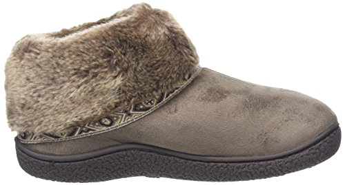 Isotoner Pillowstep Bootie With Fur Cuff And Tape Trim, Chaussons femme Beige - Beige (Taupe)