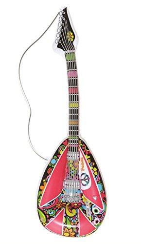 ufblasbare Mandoline, Hippie-Musikinstrument, 1960er Jahre, Accessoire fürs Karnevalskostüm, 105cm ()