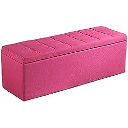 Bancs de rangement Pouf de rangement en tissu bancs Vestibule de stockage Tabouret Boîte de rangement Tabouret (Color : Rose red, Size : 60x40x40cm)