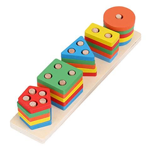 XHXseller Bausteine   Spielzeug, Holzbausteine   Set, geometrische Stapler Kleinkind Spielzeug, klassisches Holzspielzeug, Holzspielzeug, Party Favors Supplies für Kinder Kinder