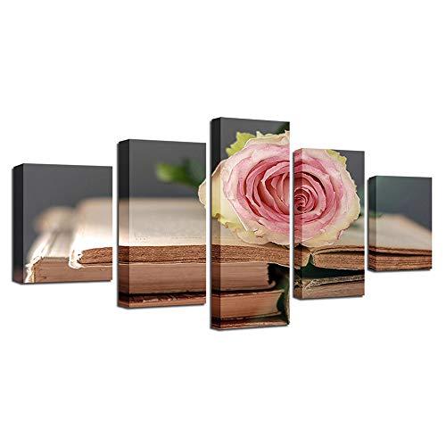Blume, Giclee Canvas Art (YANGMAN Canvas Wall Art 5 Panels Floral Giclee Leinwand Pink Rose Blumen Bilder Gemälde auf Leinwand für Wohnzimmer-Wohnzimmer-Wohnzimmer-Dekorationen,A,20x35*2+20x45*2+20x55*1)