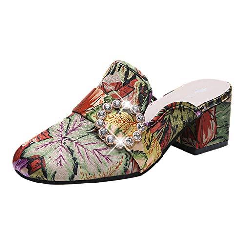 ❤Eaylis Damen Sandalen Joker Zehe Hausschuhe Mode Stickerei Blume Mit Ferse Sommer Strand Schuhe Hausschuhe Stilvoll und elegant