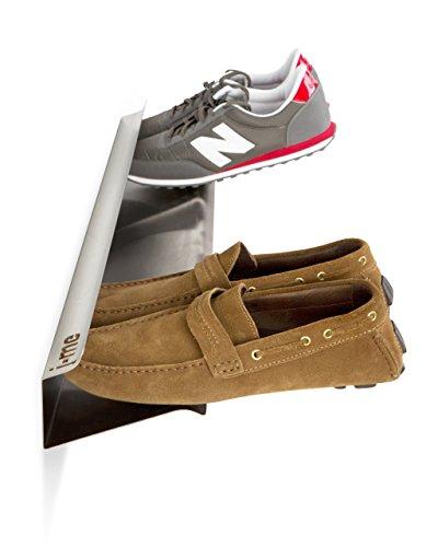 Unbekannt j-me JM200470 Schuhregal für 4 Paar Schuhe, wandbefestigt, waagerecht, 70 cm lang, Edelstahl