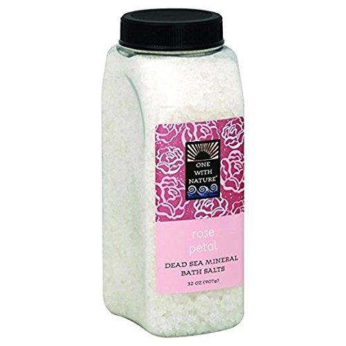 One With Nature Sels de bain - Parfum de pétales de rose - 21 sels minéraux de la Mer morte - Pour nourrir et revitaliser la peau - 946 ml