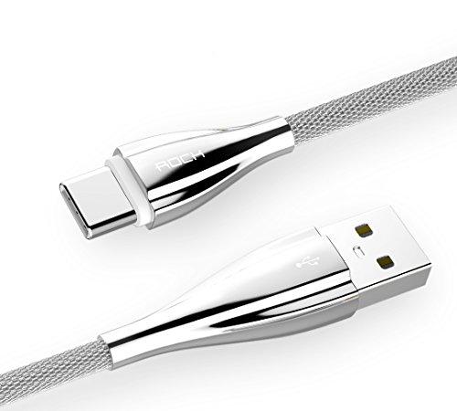 ROCK USB Type C Metall Kabel Ladekabel Datenkabel (30cm) für Galaxy S8/S8 Plus, Honor V8 Pro,Huawei Mate 9, P9/P10, LG G5, HTC 10, Google Nexus 5X/6P/Pixel/Pixel XL, Nokia N1, OnePlus 2/3, Lumia 950/950XL, Moto Z, MacBook Pro (silber)
