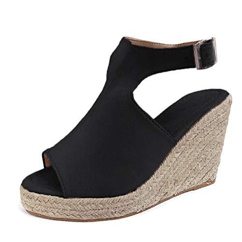 Sandalen Damen Espadrilles Keilabsatz Wedges Schuhe Mit Absatz Sandaletten Strandschuhe Riemchensandalen Schwarz 38 EU