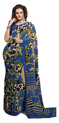 Jay Sares Elegent Designer Saree with abstract and floral prints - Jcsari3009d401b