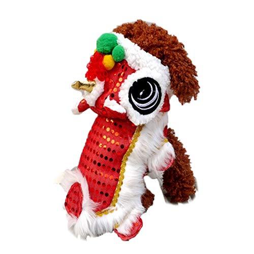 WORDERFUL Hundekostüm, süßes Löwentanz-Kostüm mit roten Pailletten für Neujahr, Katze, Hunde, Kapuzenjacke, Mantel für kleine Hunde, 14, rot (Tanz Kostüm Größentabelle)