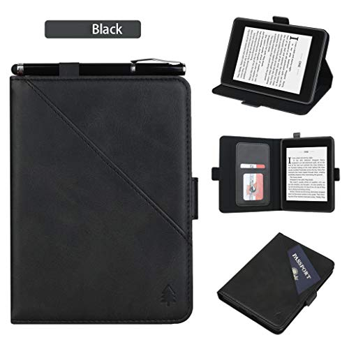 n Kindle 10th Generation (2019) Tablet, PU Leder Stand Case Cover mit Passport Card Slots Protector Buch Shell mit Smart Auto Wake/Sleep Funktion (Schwarz) ()