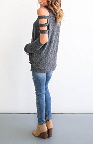 Camicia Donna Elegante Taglie Forti Maglie A Manica Lunga Fuori Spalla Girocollo Tops Camicetta Puro Colore Allentato Blusa Maglietta Casuale Camicie T Shirt Grigio