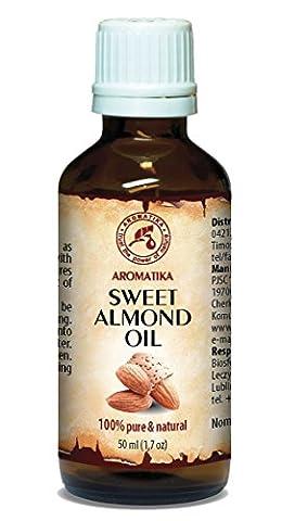 Huile d'amande douce pressée à froid 50 ml 100% Pure et naturelle, bouteille en verre, huile de base, Afrique du Sud, riche en rétinol, vitamine E, huile corporelle, soins intensifs pour le visage, le corps, les cheveux, la peau, les ongles, les mains, Anti-vieillissement pur avec huile essentielle / beauté / aromathérapie / détente / massage / bien-être / cosmétiques / soin du corps / relaxation / non dilué / épice qualité / inodore / médicament alternatif d'AROMATIKA