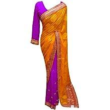 Desi Saris Mujer Cosida Blusa Zari Piedra Trabajo Sari 7097