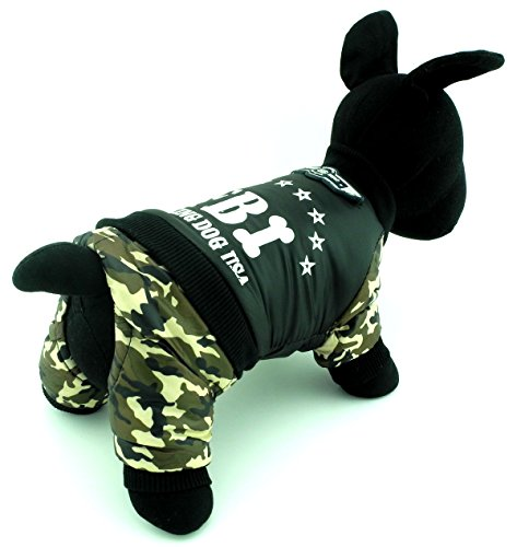 ZUNEA Warme Kleine Hund Katze Winter Overall Kostüm Kleidung Welpen FBI Mantel Jacke mit Camo Hosen Vier bein Pet Bekleidung Outfits Schwarz L -