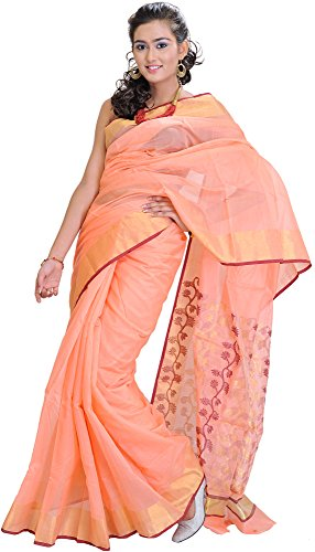 Exotic India Peach-Pink Chanderi Saree with Hand Woven Flowers on Aanchal -...