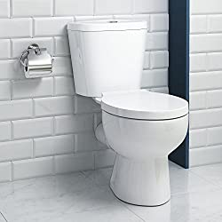 Round White Ceramic Bathroom Toilet Close Coupled Pan Cistern Seat WC CT613CCT