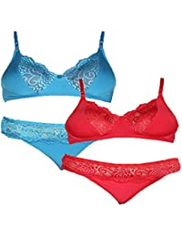 f52666dd6ade2 Urbaano Romantic Lace Bra & Panty Set for Women - Red & Blue - SRA6004C (