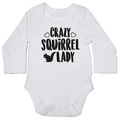 hippowarehouse Crazy Eichhörnchen Lady Baby Body (Langarm) Jungen Mädchen Gr. 68, weiß