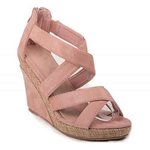 Sandales compensées rose en suédine à brides ouvertes talon effet tressé- Rose
