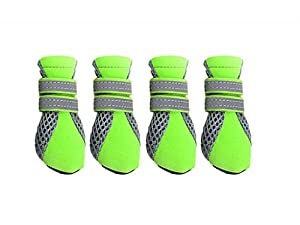 4 Bottes Hydrofuge Anti-dérapant Chaussures Chaussette Protection pour Animaux Chiot Chien