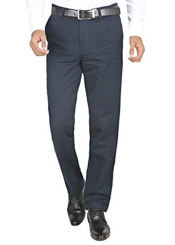 Modo Men's Regular Fit 100% Cotton Formal Dobby Dark Blue Trouser, 36