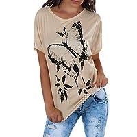GRIPY T Shirt Women Women Ladies Fashion Butterfly Print Round Neck Short Sleeve Shirt Blouse