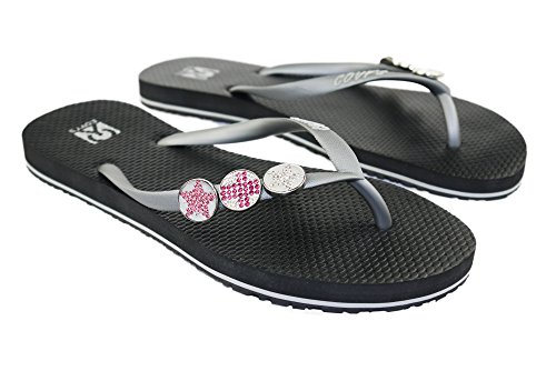 COVY'S jandals silver/black #5129 women (Zehentrenner, Sandale, DIY, Pins) Silver/Black