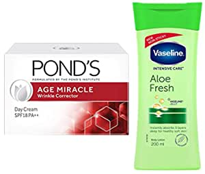 POND'S Age Miracle Wrinkle Corrector Day Cream SPF 18 PA++ 20g And Vaseline Intensive Dry Care Aloe Fresh Body Lotion, 200 ml