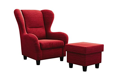 "Ohrensessel Möbelfreude® Landhausstil mit Hocker ""Savana"" Cocktail-Sessel Wohnzimmer-Sessel Relax-Sessel Rot Struktur-Stoff Luxus Cocktail-Sessel (Rot)"
