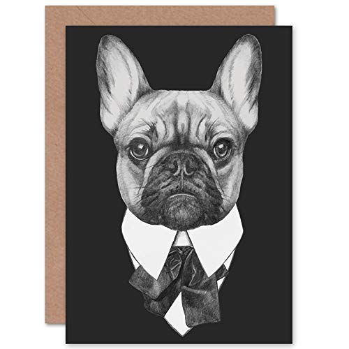 22f8e576f0e Wee Blue Coo Bow Tie French Bulldog Drawing Greeting Card with Envelope  Inside Premium Quality Francese