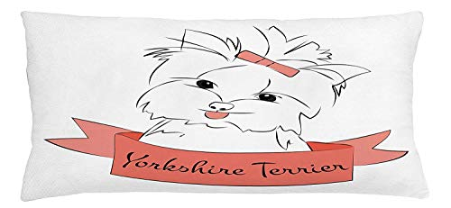 XIAOYI Yorkie Throw Pillow Cushion Cover, Cute Puppy with Hair Buckle Yorkie Terrier Animal Ribbon Cartoon Character Print, Decorative Square Accent Pillow Case, 18 X 18 inches, Pink White -