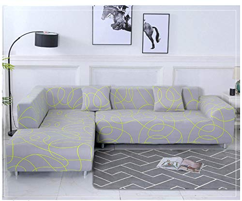 Fodera per divano copridivano elasticizzato copertine a 1/2/3/4 posti elastico,copridivano coprisedile universale pieno antiscivolo universale tinta unita elastica@4 sedeore:235-300cm light gray
