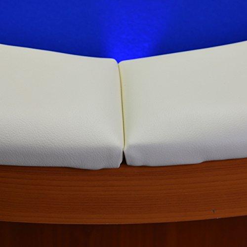Nexos Pokertisch massiv Casinotisch aus Holz für Poker mit blauem Filzbezug weißen Armlehnen und LED Beleuchtung für 10 Spieler 213 x 105 cm - 6