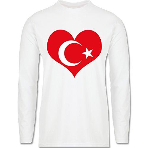 Länder - Türkei Herz - Longsleeve / langärmeliges T-Shirt für Herren Weiß