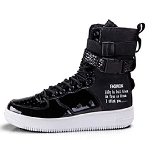 LJG Stivali Sneakers Casual Alti Stivali Hip Hop Scarpe Moto Stivali Moda Uomo Quattro Stagioni Scarpe Uomo gaobang Scarpe da Uomo in Bianco e Nero,Black,42