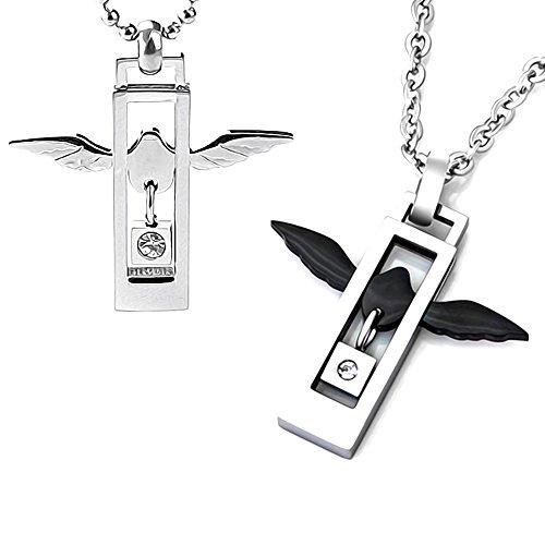 AKKi jewelry Edelstahl Kette Anhänger Set Partner Halskette Totenkopf Kette Kreuz Liebe Engel Flügel Liebe Love