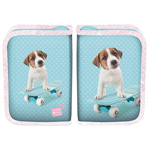 Ragusa-Trade Studio Pets - Hunde Welpen Mädchen Kinder Federtasche Federmappe Schlamper 22 TLG. gefüllt (PTA), hellblau, 19,5 x 13 x 3,5 cm (Welpen Gefüllte)