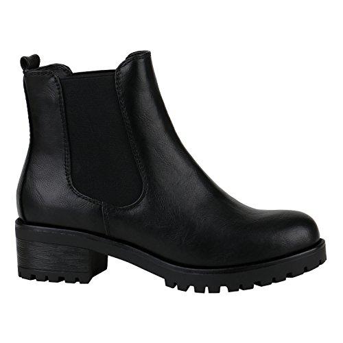 Stiefelparadies Damen Chelsea Boots Blockabsatz Plateau Stiefeletten Leder-Optik Schuhe 144274 Schwarz Glatt 37 | Flandell® (Stiefelette Bootie Leder)