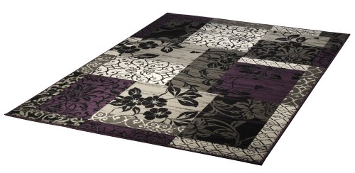 Design-Velours-Teppich-Patchwork-Optik-Bordre-lila-grau-beige-schwarz-101181-160-x-230-cm