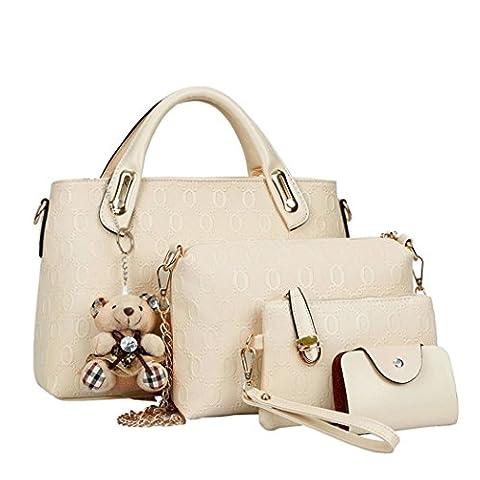 Fashion Women PU Leather Handbag Shoulder Bag Tote Bag Purse Bags 4 Pcs Set