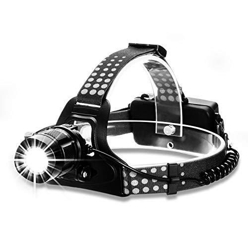 Xiancai USB Wiederaufladbare LED Stirnlampe Kopflampe, Fokusverstellbar Wasserdicht Headlight, 4 Helligkeiten, 90° Verstellbar Perfekt fürs Laufen, Joggen, Angeln, Campen. (inklusive USB Kabel) -