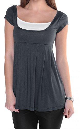 Glamour Empire. Donna Maglietta T-shirt taglio impero. Manica corta. 960 (Blu Grigio, IT 40/42, M)