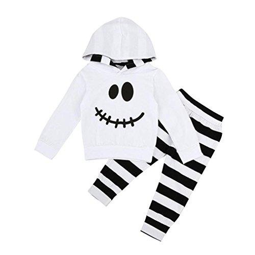 JIANGFU Infant Halloween gestreifte zweiteiliges Kleid,Kleinkind-Baby-Mädchen-kleine Teufel-Hauben-Blusen-Streifen-Hosen-Halloween-Ausstattungs-Set - Geschichte Requisiten Halloween-gruselige Mit