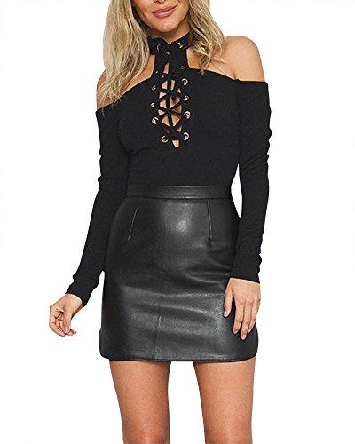 SaiDeng Femmes Couleur Pure Licou Maigre Manche Longue Jumpsuit Bodysuit Tops Noir