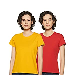Amazon Brand – Symbol Women's Plain Regular fit T-Shirt (Pack of 2)